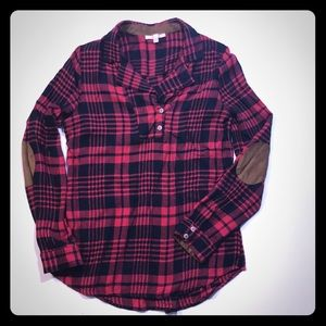 Red and Black plaid long sleeve with elbow pads